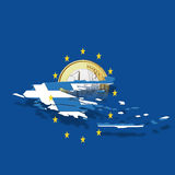 Contour of Greece with European Union stars and euro coin against blue background, digital composite royalty free illustration