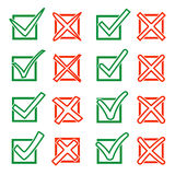 Contour green hook V and red cross X in checkbox. Yes No icons for highlight selection. Vector set Stock Photos