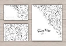 Contour greeting cards with flowers. Royalty Free Stock Images