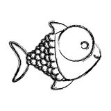 Contour happy fish cartoon icon. Illustration design Royalty Free Stock Photography