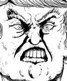 Contour haut étroit d'extrémité sur la lèvre acérée de Donald Trump Photographie stock