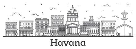 Contour Havana Cuba City Skyline avec l'isolat de bâtiments historiques illustration libre de droits