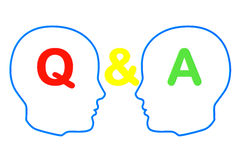 Contour of the heads with question and answer signs Stock Image