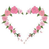 Contour of the heart painted with delicate roses. Love, card Royalty Free Stock Image