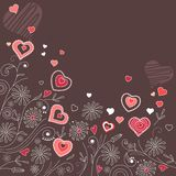 Contour hearts on dark background Royalty Free Stock Images