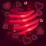 Contour hearts on dark red background Stock Photography