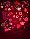 Contour hearts on dark red background Royalty Free Stock Image