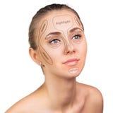 Contour and highlight makeup. Royalty Free Stock Image
