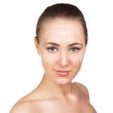 Contour and highlight makeup. Stock Photos