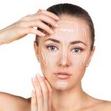 Contour and highlight makeup. Stock Images
