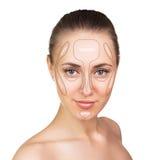 Contour and highlight makeup. Stock Image