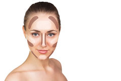 Contour and highlight makeup. Make up woman face. Contour and highlight makeup. Isolated on white Royalty Free Stock Image