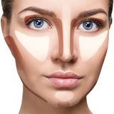 Contour and highlight makeup. Young woman with sample contouring and highlight makeup on face Stock Images
