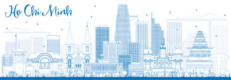 Contour Ho Chi Minh Skyline avec les bâtiments bleus Photographie stock