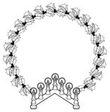 Contour holiday round frame with holly berry and Christmas candlestick Royalty Free Stock Image