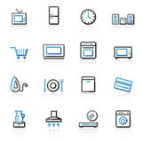 Contour home appliances icons Royalty Free Stock Images