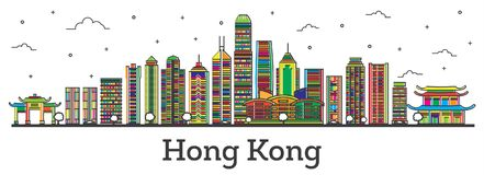 Contour Hong Kong China City Skyline avec des bâtiments Isolat de couleur illustration stock