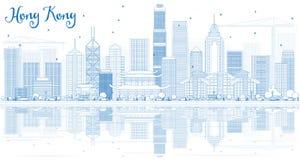 Contour Hong Kong Skyline avec les bâtiments bleus et les réflexions illustration libre de droits