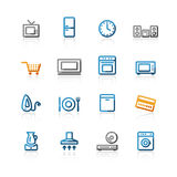 Contour household e-shop icons. On the white background Stock Image