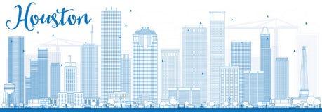 Contour Houston Skyline avec les bâtiments bleus Photos stock