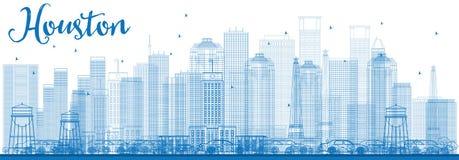 Contour Houston Skyline avec les bâtiments bleus Photographie stock