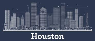 Contour Houston Texas City Skyline avec les bâtiments blancs illustration de vecteur