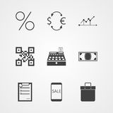 Contour icons for internet moneymaking Stock Images