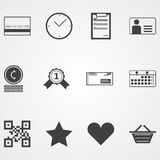 Contour icons for online shopping process Royalty Free Stock Photos
