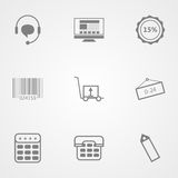 Contour icons for online store. Set of black contour icons for online store on gray background Royalty Free Stock Photos