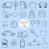 Contour icons on the topic of car and vehicle Royalty Free Stock Photos
