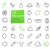 Contour icons of vegetables and fruit Stock Image