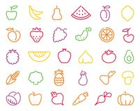 Contour icons of vegetables and fruit Stock Photos