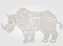 Contour illustration with abstract rhinoceros. Illustration of abstract contour of a rhino on white background Royalty Free Stock Images