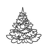 Contour illustration christmas tree Stock Photography