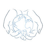 Contour illustration of female hands holding a globe. Royalty Free Stock Photography
