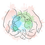 Contour illustration of female hands holding a globe Stock Images