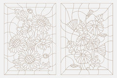Contour illustration of a floral stained glass, sunflowers and daisies. Set contour illustrations in the stained glass style, sunflowers and daisies, dark Royalty Free Stock Photos