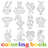 Contour illustration with set of funny rabbits, coloring book Royalty Free Stock Images