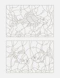 Contour illustration of stained glass, aquarium fish. Set contour illustrations of stained glass with aquarium fish Royalty Free Stock Images