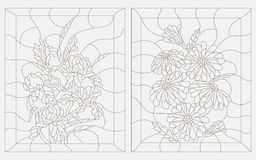 Contour illustration of stained glass , a bouquet of daisies and irises in a rectangular frame. Set contour illustrations in the stained glass style, iris and Royalty Free Stock Photography