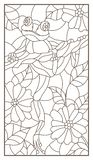 Contour set with   illustration of a stained glass window with  frog on plant branches background with  flowers and leaves,  dark. Contour illustration of a stock illustration