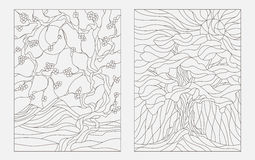 Contour illustrations in the style of a stained glass window with abstract trees Royalty Free Stock Photo