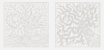 Contour illustrations in the style of a stained glass window with abstract trees Royalty Free Stock Images