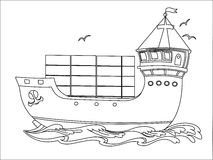 Contour image of a cargo ship. Contour image of the sea cargo ship with containers Stock Image