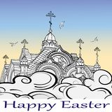 Contour image of the domes of the Church against the sky, clouds, birds and happy Easter words vector illustration