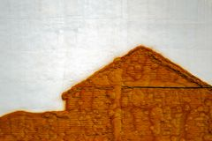 Contour image of a house on the wall. Close view Royalty Free Stock Image