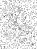 Contour image of moon crescent clouds, stars on the sky in zentangle inspired doodle style isolated on white. royalty free illustration