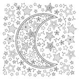 Contour image of moon crescent and stars in zentangle inspired doodle style. Square composition. Coloring book page for adult and older children. Editable Stock Photo