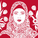 Contour Image of Muslim girl in hijab. Royalty Free Stock Photos