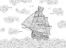 Contour image of sailing ship on the wave in zentangle inspired doodle style. Horizontal composition. Coloring book, antistress page for adult and children stock illustration